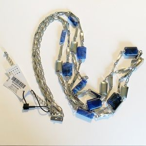 NWT WHBM semi precious stone silver long necklace